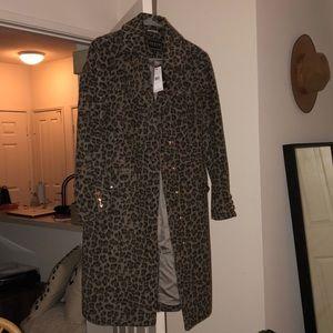 GUESS NWT leopard long car coat